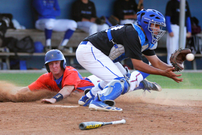 Angelina College's Dustin West slides home safely ahead of the throw during Monday's doubleheader against TCS Post Grad. The Roadrunners won their fourth straight by taking a 9-4, 7-2 sweep at Roadrunner Field. (Photo by AC Press)