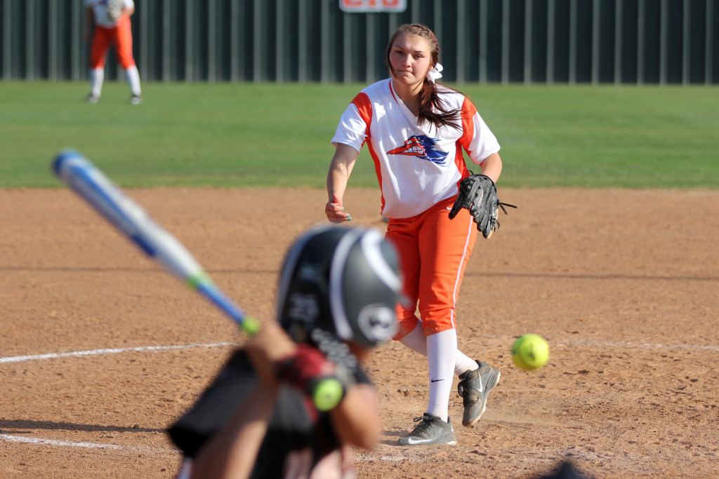 Angelina College pitcher Whitney Howerton delivers to the plate during Wednesday's doubleheader against Navarro College. The No. 10 Lady Roadrunners took a 6-4 win in the late game after dropping the opener by a 7-1 score. (AC Press photo)